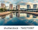 reflection of urban buildings... | Shutterstock . vector #760273387