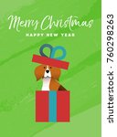 merry christmas and happy new... | Shutterstock .eps vector #760298263