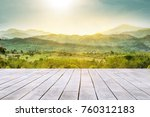 white wooden table top with the ... | Shutterstock . vector #760312183