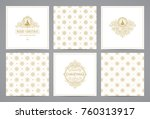 luxury retro x mas cards with... | Shutterstock .eps vector #760313917
