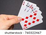 royal flush in poker on the hand   Shutterstock . vector #760322467