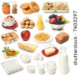 image set of fresh food on white background - stock photo