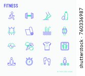 fitness thin line icons set of... | Shutterstock .eps vector #760336987