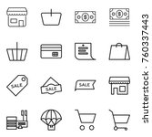 thin line icon set   shop ... | Shutterstock .eps vector #760337443