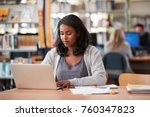 mature female student working... | Shutterstock . vector #760347823
