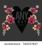 patch embroidery flowers and... | Shutterstock .eps vector #760357837
