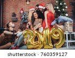group of cheerful old friends... | Shutterstock . vector #760359127