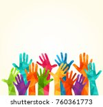 colorful up hands. vector... | Shutterstock .eps vector #760361773