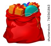 red open santa bag with gifts.... | Shutterstock .eps vector #760361863