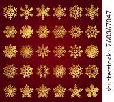 set of vector snowflakes on red ... | Shutterstock .eps vector #760367047