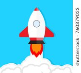 start up launch. rocket takes... | Shutterstock . vector #760379023