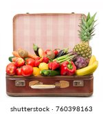 old suitcase full of fruits and ... | Shutterstock . vector #760398163