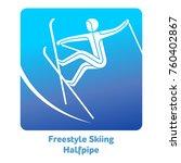 freestyle skiing halfpipe icon. ... | Shutterstock .eps vector #760402867