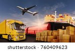 truck  rail  air and ship... | Shutterstock . vector #760409623