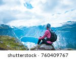 hiker on the mountain top.... | Shutterstock . vector #760409767