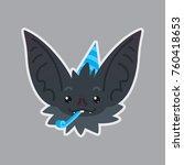 bat sticker. emoji. vector... | Shutterstock .eps vector #760418653