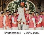 handsome indian groom in white... | Shutterstock . vector #760421083