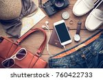 travel accessories costumes for ... | Shutterstock . vector #760422733