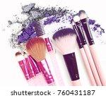 vintage various makeup brushes... | Shutterstock . vector #760431187