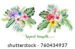 watercolor tropical floral... | Shutterstock . vector #760434937