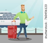 young caucasian white passenger ... | Shutterstock .eps vector #760456123