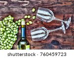 wine and glasses on a wooden... | Shutterstock . vector #760459723