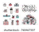 merry christmas. holiday vector ... | Shutterstock .eps vector #760467337