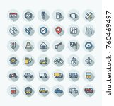 vector thin line icons set and... | Shutterstock .eps vector #760469497