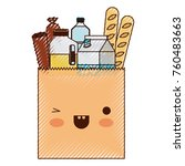 kawaii square paper bag with... | Shutterstock .eps vector #760483663