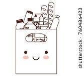 kawaii rectangular paper bag... | Shutterstock .eps vector #760486423