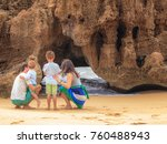 family of four contemplating... | Shutterstock . vector #760488943