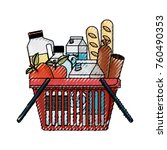 shopping basket with foods... | Shutterstock .eps vector #760490353