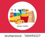 colorful junk food vector... | Shutterstock .eps vector #760493227
