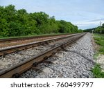 the railway runs off into the... | Shutterstock . vector #760499797