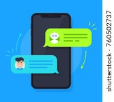 messaging with chatbot concept. ... | Shutterstock .eps vector #760502737