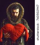 handsome bearded man or guy in... | Shutterstock . vector #760502947