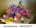 autumn still life with pink... | Shutterstock . vector #760519477