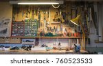 complete workbench with a wall... | Shutterstock . vector #760523533