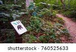 bear sign in forest. slovakia... | Shutterstock . vector #760525633