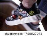 fashion sneakers. lighting... | Shutterstock . vector #760527073