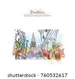 watercolor splash with sketch... | Shutterstock .eps vector #760532617