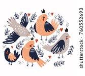 cute birds illustrations.... | Shutterstock .eps vector #760552693