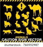 animals caution sign label... | Shutterstock .eps vector #760552987