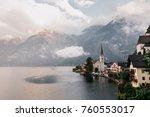 scenic view of famous hallstatt ... | Shutterstock . vector #760553017