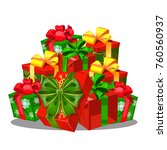 heap of gift boxes with ribbon...   Shutterstock .eps vector #760560937