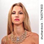 beautiful fashion young woman... | Shutterstock . vector #760579303