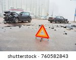 accident or crash with two... | Shutterstock . vector #760582843