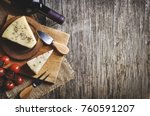 top view of red wine and cheese ...   Shutterstock . vector #760591207