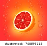 grapefruit juice background. | Shutterstock .eps vector #760595113