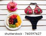 set of summer. fresh fruit... | Shutterstock . vector #760597627